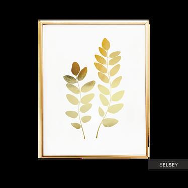 Acacia Leaves Golden Wall Print