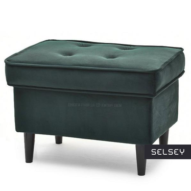 Malmo Moss Green Footstool on Black Legs