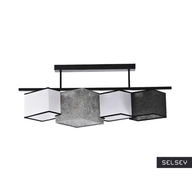 Geometry Tricolour Ceiling Lamp Grey Black White with Piping