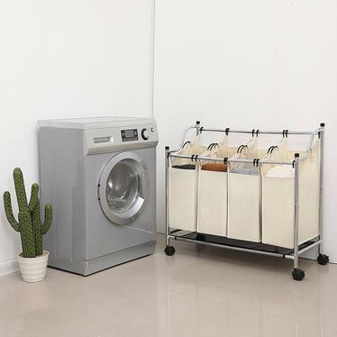 Baratins 4 Section Creme Laundry Basket