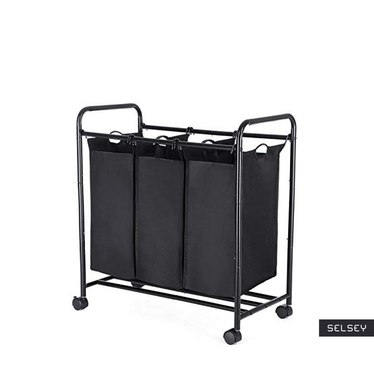 Textil 3 Section Black Laundry Basket