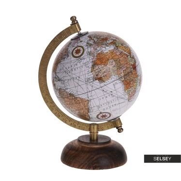 Orb Grey World Globe on Wooden Stand 13 cm