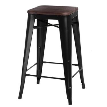 Paris Wood Black Bar Stool