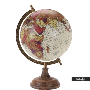 Orb Creme World Globe on Wooden Stand 20 cm
