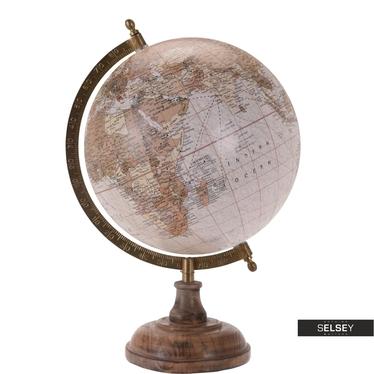 Orb Vintage Pink World Globe on Wooden Stand 20 cm