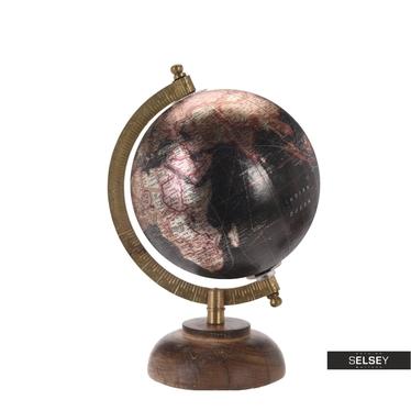 Orb Metallic Black World Globe on Wooden Stand 13 cm