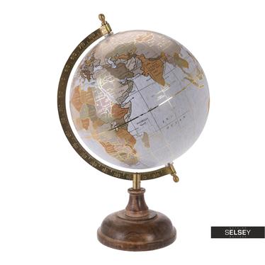 Orb Golden Grey World Globe on Wooden Stand 20 cm