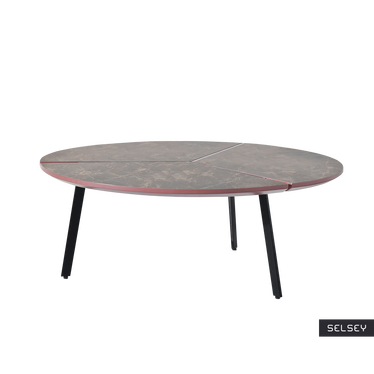 Fjord Brown Marble Round Coffee Table
