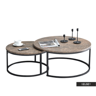 Kodia 2 Piece Brown Marble Coffee Table Set
