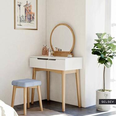 Milady Oak White Vanity Table with Stool