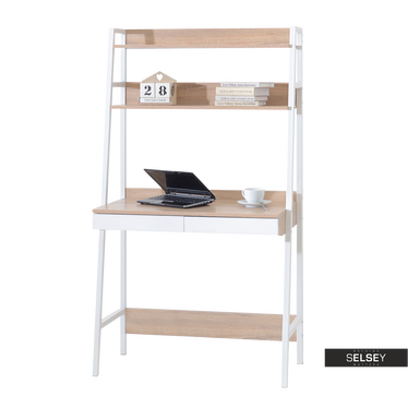 Berg Scandinavian Ladder Desk White and Oak