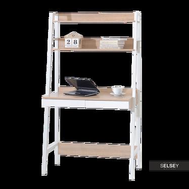 Berg Scandinavian Ladder Desk White and Oak