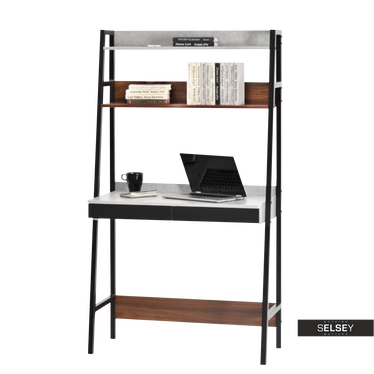 Berg Ladder Desk Walnut and Concrete Grey