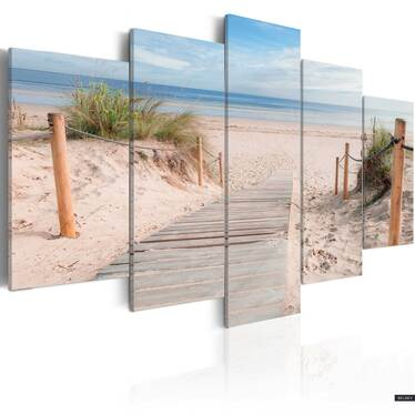 Early Morning Beach 5 Piece Canvas Print 200x100 cm