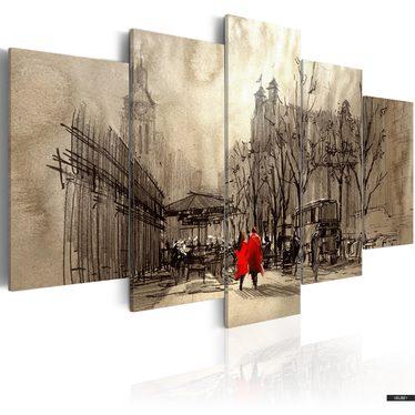 Romantic Stroll 5 Piece Canvas Print 100x50 cm