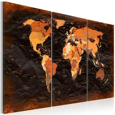 Amazing Map 3 Piece Canvas Print 120x80 cm