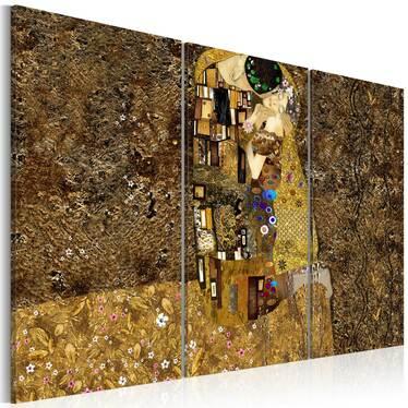 Klimt's Kiss 3 Piece Canvas Print 120x80 cm