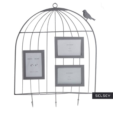 Cage White Decorative Hooks with Picture Frames