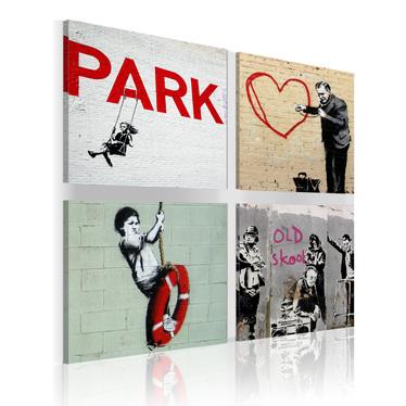 Banksy 4 Piece Street Art Canvas Print Set 80x80 cm