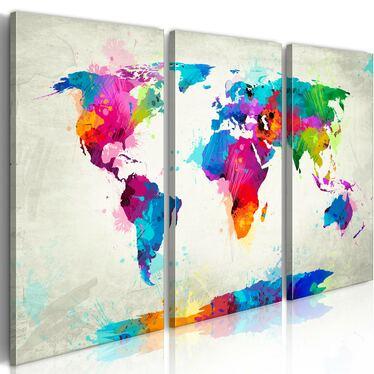 World Map 3 Piece Watercolours Canvas Print 120x80 cm