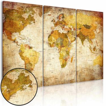 World Map 3 Piece Vintage Canvas Print 60x40 cm