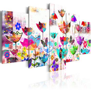 Tulips In The Rain 5 Piece Canvas Print 200x100 cm