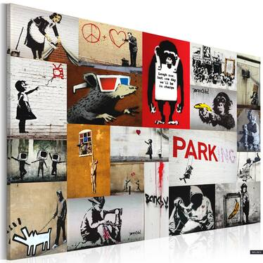 Banksy Collage Canvas Print 90x60 cm