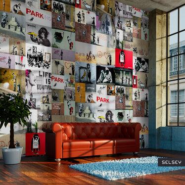 Banksy Collage Mural Wallpaper 50x1000 cm