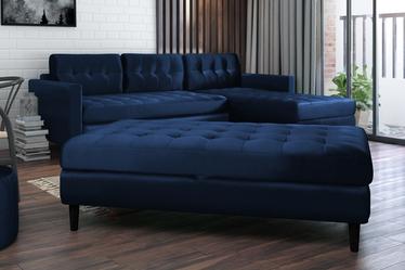 Kopenhaga Navy Blue Corner Sofa with a Pouf and a Tray Top