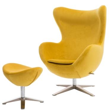 Cocoon Velvet Designer Armchair with Footstool Yellow