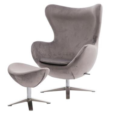 Cocoon Velvet Designer Armchair with Footstool Grey