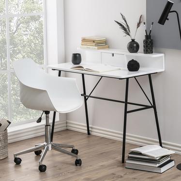 Brova Desk White with Black Legs