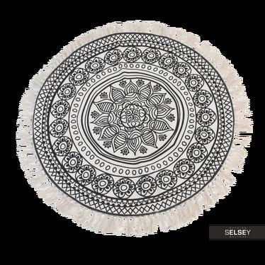 Mandala Dark Pattern Round Rug with Fringe 90 cm