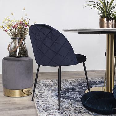 Rallsy 2 Piece Dining Chair Set Navy Blue on Black Legs