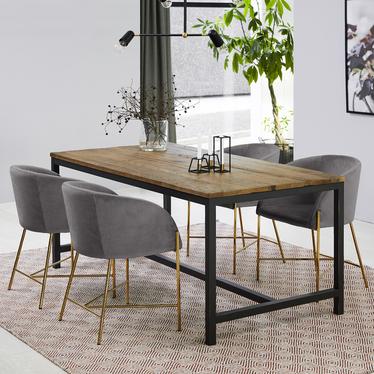 Ribioc Grey Modern Velour Chair on Golden Legs