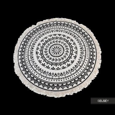 Mandala Dark Pattern Round Rug with Fringe 120 cm