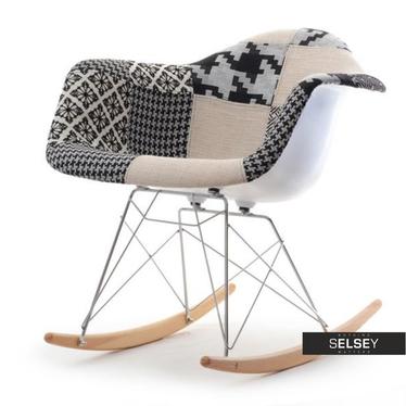 Roxy Beige Patchwork Rocking Chair