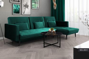 Mru Mru Corner Sofa Bed with Linen Storage Dark Green