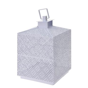 Lumiere White Metal Lantern 21 cm