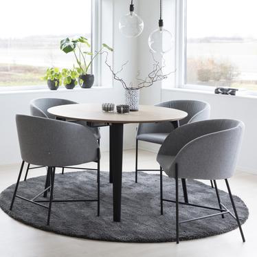 Ribioc Light Grey Modern Chair on Black Legs