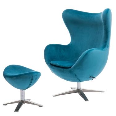 Cocoon Velvet Designer Armchair with Footstool Turquoise
