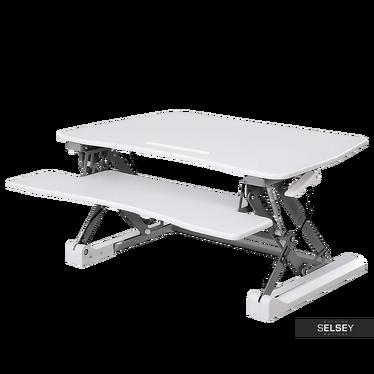 Flint White Standing Desk Converter with Pneumatic Adjustment System 80x59 cm