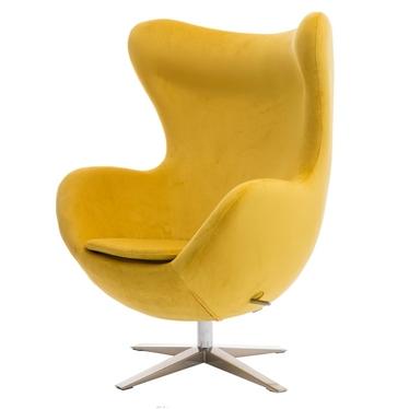 Cocoon Velvet Designer Armchair Yellow