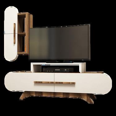 Ovalia Cream TV Stand with Hanging Cabinet 145 cm