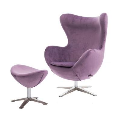 Cocoon Velvet Designer Armchair with Footstool Purple